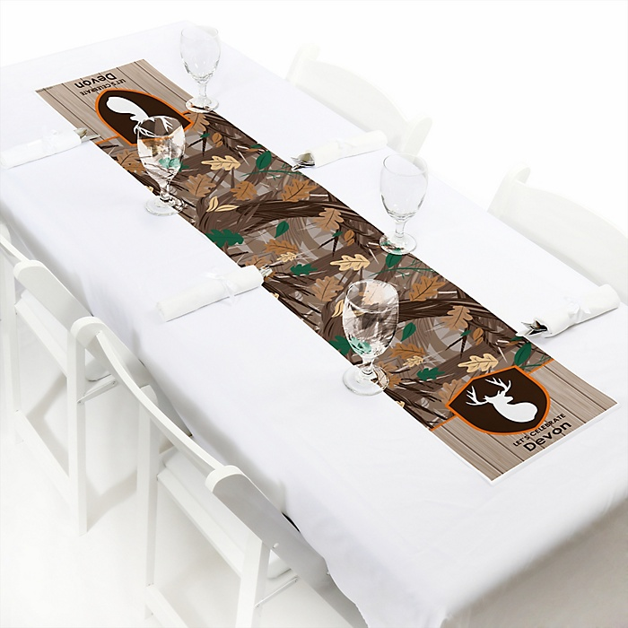 Gone Hunting - Personalized Deer Hunting Camo Party Petite Table Runner