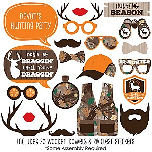 Gone Hunting - 20 Piece Deer Hunting Camo Party Photo Booth Props Kit