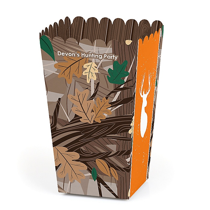 Gone Hunting - Personalized Deer Hunting Camo Party Favor Popcorn Treat Boxes - Set of 12