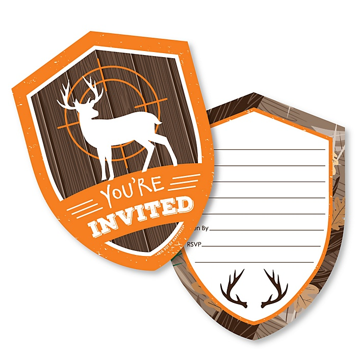 Gone Hunting - Shaped Fill-In Invitations - Deer Hunting Camo Party Invitation Cards with Envelopes - Set of 12