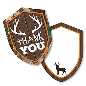 Gone Hunting - Shaped Thank You Cards - Deer Hunting Camo Party Thank You Note Cards with Envelopes - Set of 12