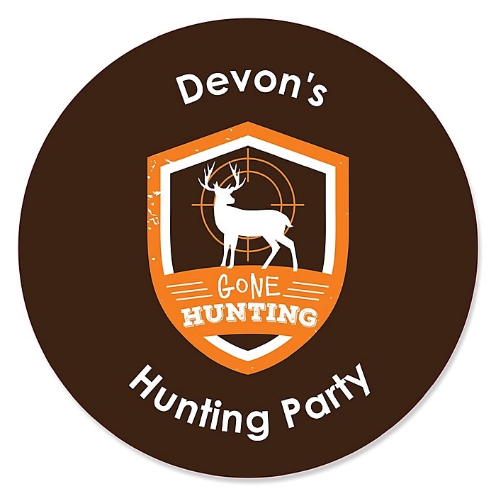 Gone Hunting - Deer Hunting Camo Baby Shower or Birthday Party Circle Sticker Labels - 24 ct