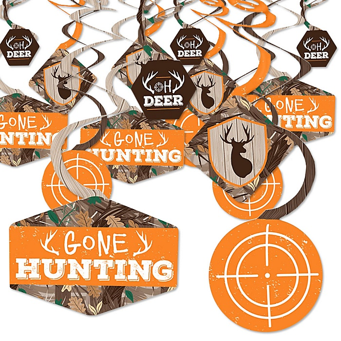 Gone Hunting - Deer Hunting Camo Baby Shower or Birthday Party Hanging Decor - Party Decoration Swirls - Set of 40