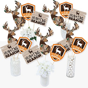 Gone Hunting - Deer Hunting Camo Party Centerpiece Sticks - Table Toppers - Set of 15
