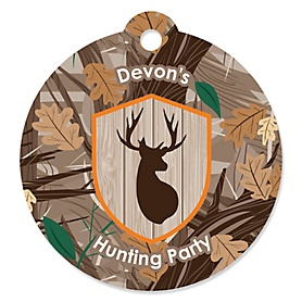 Gone Hunting - Round Personalized Deer Hunting Camo Baby Shower or Birthday Party Tags - 20 ct