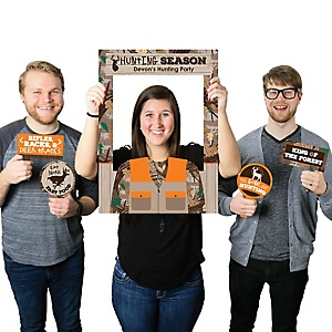 Gone Hunting - Personalized Deer Hunting Camo Party Selfie Photo Booth Picture Frame and Props - Printed on Sturdy Material