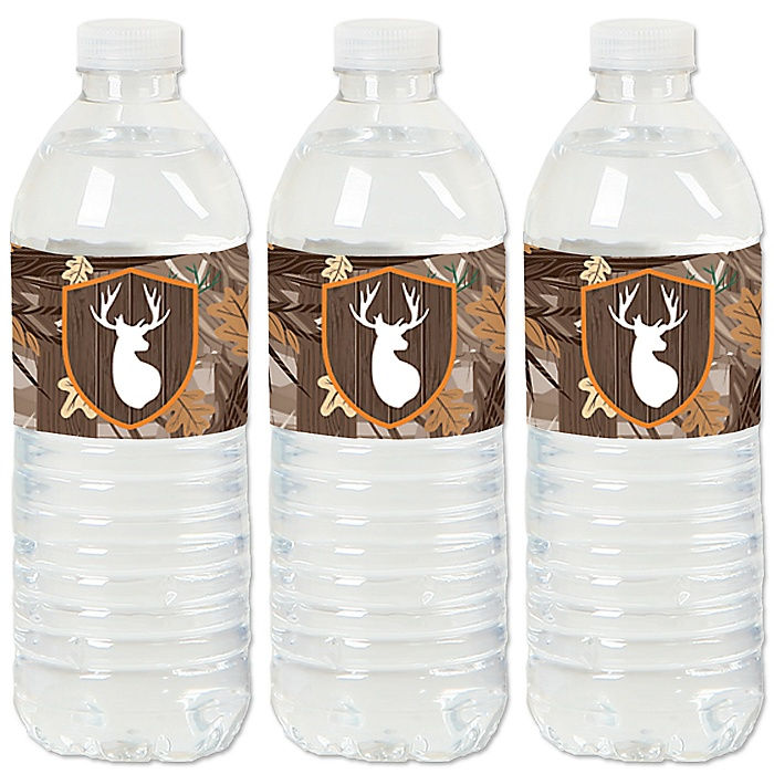 Gone Hunting - Deer Hunting Camo Baby Shower or Birthday Party Water Bottle Sticker Labels - Set of 20