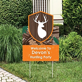 Gone Hunting - Party Decorations - Deer Hunting Camo Party Personalized Welcome Yard Sign