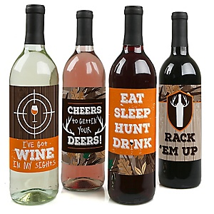 Gone Hunting - Deer Hunting Camo Birthday Party Decorations for Women and Men - Wine Bottle Label Stickers - Set of 4