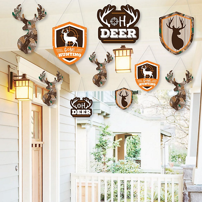 Hanging Gone Hunting - Outdoor Deer Hunting Camo Party Hanging Porch and Tree Yard Decorations - 10 Pieces