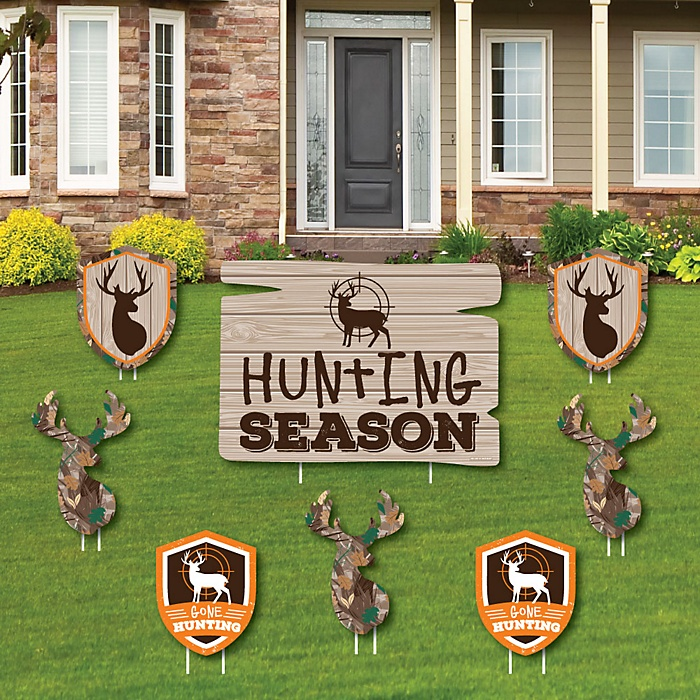 Gone Hunting - Yard Sign and Outdoor Lawn Decorations - Deer Hunting Camo Party Yard Signs - Set of 8