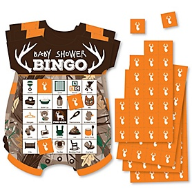 Gone Hunting - Picture Bingo Cards and Markers - Deer Hunting Camo Baby Shower Shaped Bingo Game - Set of 18