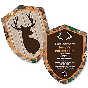 Gone Hunting - Shaped Deer Hunting Camo Baby Shower or Birthday Party Invitations - Set of 12