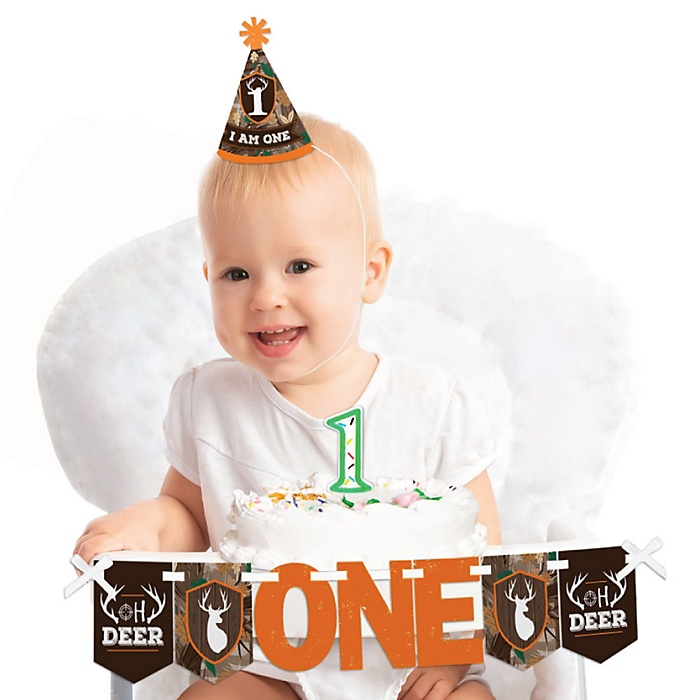 Gone Hunting 1st Birthday - First Birthday Boy Smash Cake Decorating Kit - High Chair Decorations