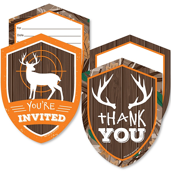 Gone Hunting - 20 Shaped Fill-In Invitations and 20 Shaped Thank You Cards Kit - Deer Hunting Camo Baby Shower or Birthday Party Stationery Kit - 40 Pack
