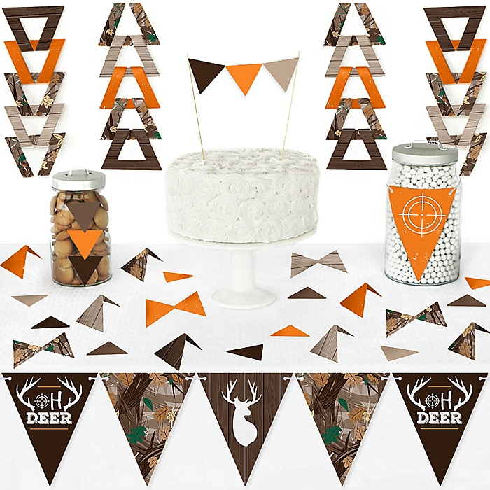 Gone Hunting - DIY Pennant Banner Decorations - Deer Hunting Camo Baby Shower or Birthday Party Triangle Kit - 99 Pieces