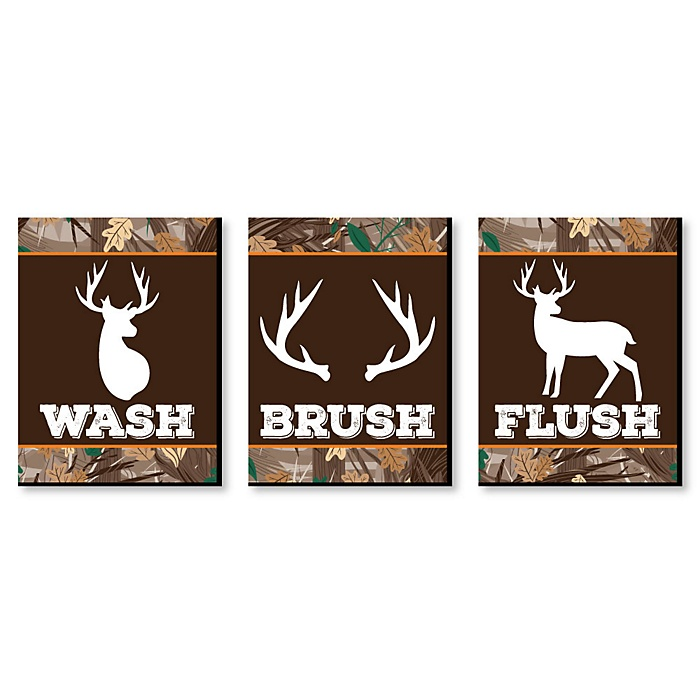 Gone Hunting - Kids Bathroom Rules Wall Art - 7.5 x 10 inches - Set of 3 Signs - Wash, Brush, Flush