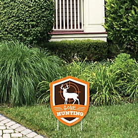 Gone Hunting - Outdoor Lawn Sign - Deer Hunting Camo Baby Shower or Birthday Party Yard Sign - 1 Piece