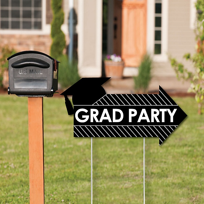 4 Piece - Grad Party Arrow Signs - Yard Sign Outdoor Lawn Decorations - Double Sided Graduation Party Arrow Yard Signs - Kit Contains 4 Arrows