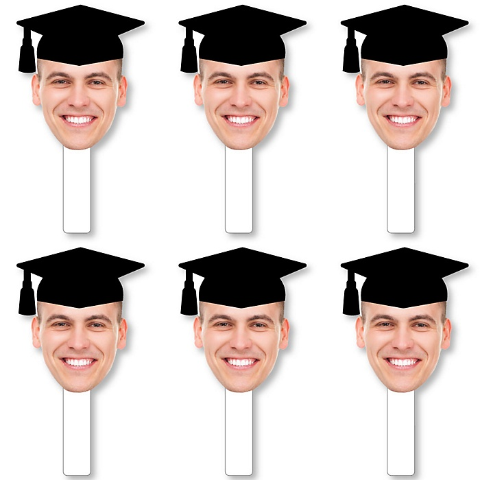 Grad Cap Fun Face Cutout Paddles - Custom Graduation Photo Head Cut Out Photo Booth and Fan Props - Upload 1 Photo - 6 Piece Cut Out Kit