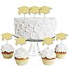 Gold Glitter Grad Cap - No-Mess Real Gold Glitter Dessert Cupcake Toppers - Graduation Party Clear Treat Picks - Set of 24