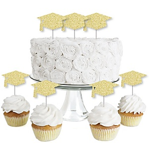 Gold Glitter Grad Cap - No-Mess Real Gold Glitter Dessert Cupcake Toppers - Graduation Party Clear Treat Picks - Set of 24