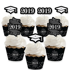 Graduation Cheers - Cupcake Decoration - 2019 Graduation Party Cupcake Wrappers and Treat Picks Kit - Set of 24