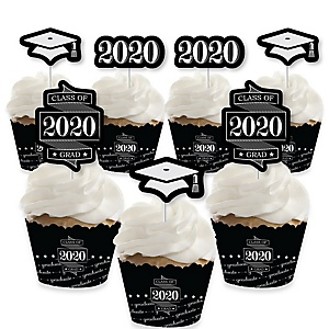 Graduation Cheers - Cupcake Decoration - 2020 Graduation Party Cupcake Wrappers and Treat Picks Kit - Set of 24