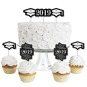 Graduation Cheers - Dessert Cupcake Toppers - 2019 Graduation Party Clear Treat Picks - Set of 24