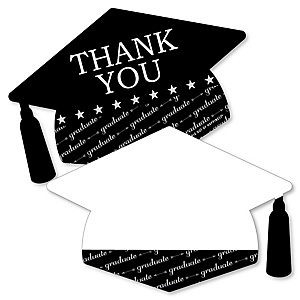 Graduation Cheers - Shaped Thank You Cards - Graduation Party Thank You Note Cards with Envelopes - Set of 12