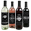 Graduation Cheers - 2018 Graduation Wine Bottle Label Stickers - Set of 4