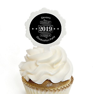 Graduation Cheers - Personalized 2019 Graduation Cupcake Pick and Sticker Kit - 12 ct