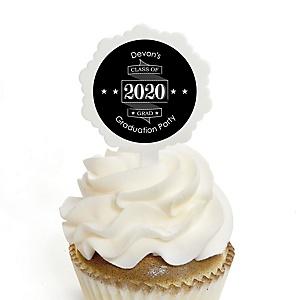 Graduation Cheers - Personalized 2020 Graduation Cupcake Pick and Sticker Kit - 12 ct