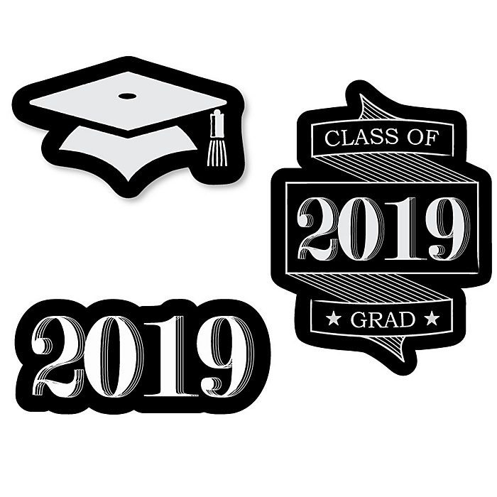 Graduation Cheers - DIY Shaped 2019 Graduation Party Paper Cut-Outs - 24 ct