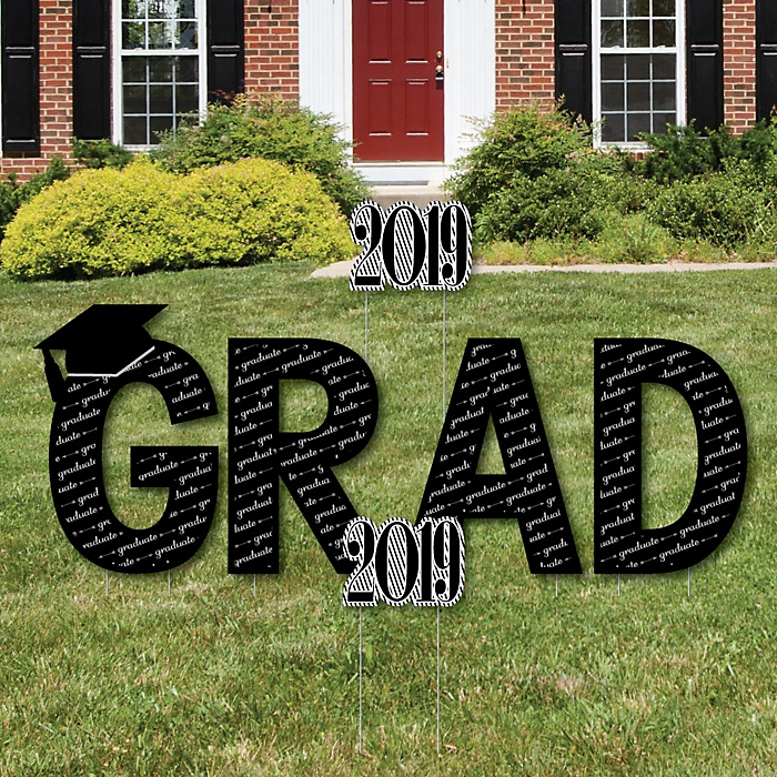 GRAD - Graduation Cheers - Yard Sign Outdoor Lawn Decorations - 2019 Graduation Party Yard Signs