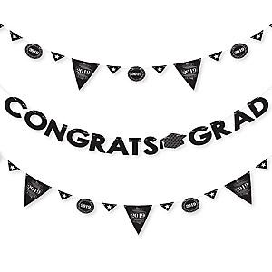 Graduation Cheers - 2019 Graduation Party Letter Banner Decoration - 36 Banner Cutouts and Congrats Grad Banner Letters