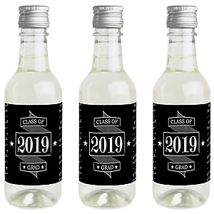 Graduation Cheers - Mini Wine and Champagne Bottle Label Stickers - 2019 Graduation Party Favor Gift - For Women and Men - Set of 16