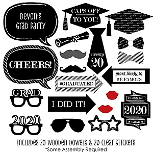 Graduation Cheers - 20 Piece 2020 Graduation Party Photo Booth Props Kit