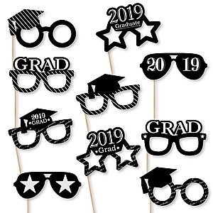 Graduation Cheers Glasses - 2019 Paper Card Stock Graduation Party Photo Booth Props Kit - 10 Count