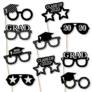 Graduation Cheers Glasses - 2020 Paper Card Stock Graduation Party Photo Booth Props Kit - 10 Count