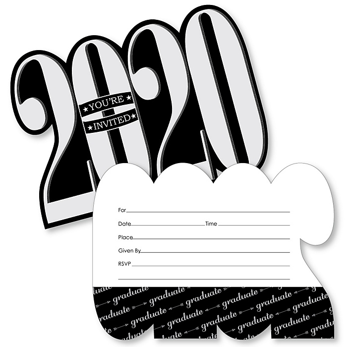 Graduation Cheers - 2020 Shaped Fill-In Invitations - Graduation Party Invitation Cards with Envelopes - Set of 12