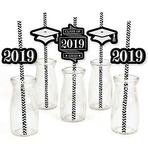 Graduation Cheers - Paper Straw Decor - 2019 Graduation Party Striped Decorative Straws - Set of 24
