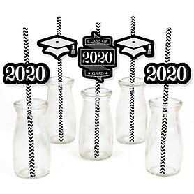 Graduation Cheers - Paper Straw Decor - 2020 Graduation Party Striped Decorative Straws - Set of 24