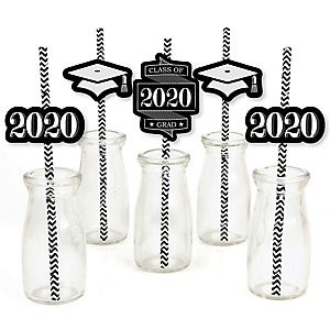 Graduation Cheers - Paper Straw Decor - 2020 Graduation Party Striped Decorative Straws - Set of 24