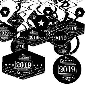 Graduation Cheers - 2019 Graduation Party Hanging Decor - Party Decoration Swirls - Set of 40