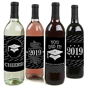 Graduation Cheers - 2019 Graduation Decorations for Women and Men - Wine Bottle Label Stickers - Set of 4