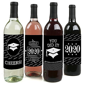 Graduation Cheers - 2020 Graduation Decorations for Women and Men - Wine Bottle Label Stickers - Set of 4
