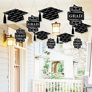 Hanging Graduation Cheers - Outdoor Graduation Party Hanging Porch & Tree Yard Decorations - 10 Pieces