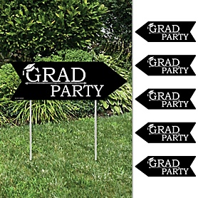 Graduation Cheers - Arrow Graduation Party Direction Signs - Double Sided Outdoor Yard Signs - Set of 6