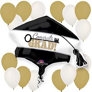 Congrats Grad - Key to Success Gold and White Graduation Party Balloon Kit